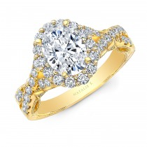 18K YELLOW GOLD VINTAGE OVAL FLOWER ENGAGEMENT RING