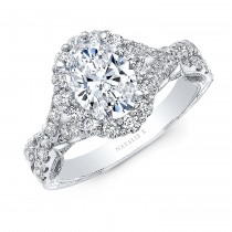18K WHITE GOLD VINTAGE OVAL FLOWER ENGAGEMENT RING