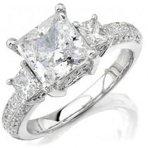 14k White Gold Diamond Three Stone Engagement Ring NK8438-W