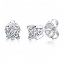 Princess Cut Diamond Stud Earrings 3/8ct Total Weight