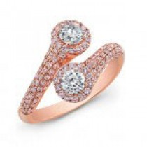 2 stone cross over pink diamond ring set in 18 k rose gold
