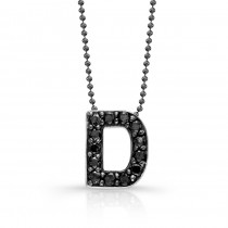 Black Diamond Initial Pendant D