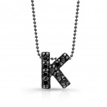 Black Diamond Initial Pendant K