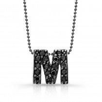 Black Diamond Initial Pendant M