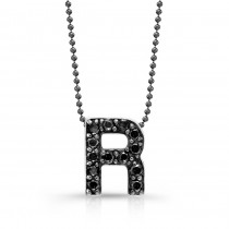 Black Diamond Initial Pendant R