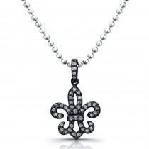 Fleur De Lis Necklace 1/6 Carat - Black Finish