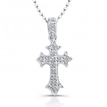 Pave Diamond Cross Necklace-Sterling Silver