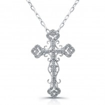 Sterling Silver Vintage Diamond Cross Pendant