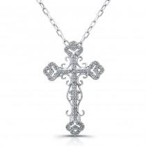 14k White Gold Antique Diamond Cross Pendant 1/4CTW