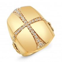 Gold Plated Diamond Cross Ring