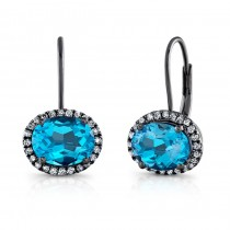 4.25CTW Oval Blue Topaz Diamond Earrings