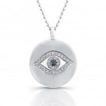 Silver Diamond Evil Eye Pendant