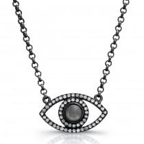 Black Silver Diamond and Moonstone Evil Eye Necklace