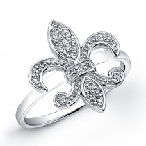Sterling Silver Diamond Fleur De Lys Ring