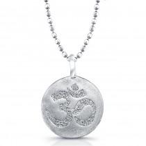 Sterling Silver Diamond Disk Aum Pendant