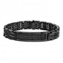 Black Diamond Mens ID Link Bracelet