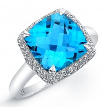 Blue Topaz Diamond Ring - Sterling Silver