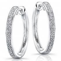 Silver Pave Diamond Hoop Earrings