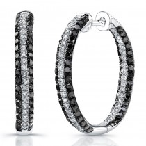 Silver Black And White Diamond Hoop Earrings