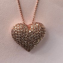 14kt Rose Gold Classic Puffy Diamond Pave Heart