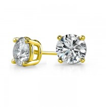 14K Yellow Gold 4 Prong Round Stud Earrings 1/10 ct