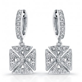 Diamond Chopper Cross Earrings,14k White Gold