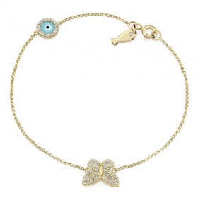 Yellow Gold Butterfly Fish and Evil Eye Diamond Bracelet