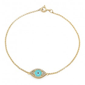 14k Yellow Gold Diamond Encrusted Evil Eye Bracelet