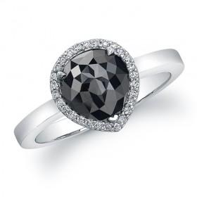 14K White Gold 2 ct Pear Shape Black Diamond Ring