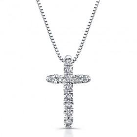 14K White Gold Diamond Baby Cross Necklace