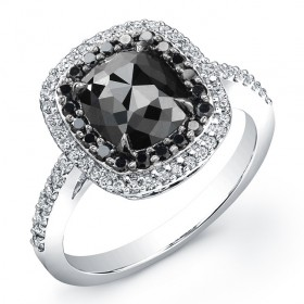 Cushion 2ct Black Diamond Ring