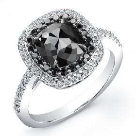 Cushion 2ct Black Diamond Ring