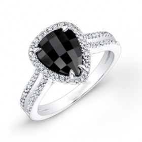 Pear Shape 1 1/2ct Black Diamond Ring