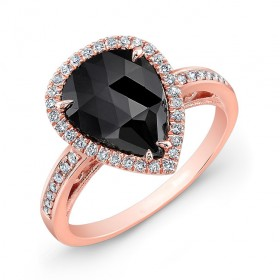 1.12 Carat Pear Shape Black Diamond Ring