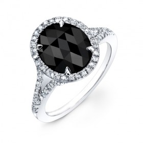 Oval Black Diamond Split Shank Ring