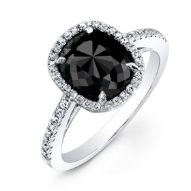 2 1/2ct Cushion Black Diamond Ring