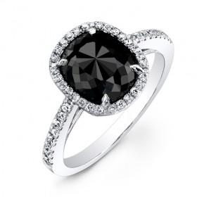 2 1/2ct Cushion Black Diamond Ring