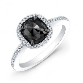 White Gold Rose Cut Black Diamond Ring