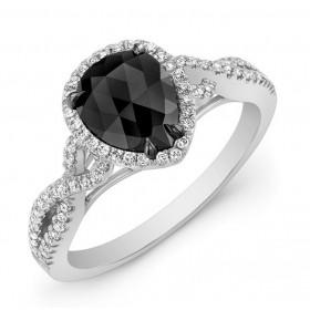 14K White Pear Shape Black Diamond Ring