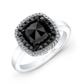 1 1/4  Cushion Black Diamond Ring