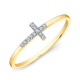 Small Yellow Gold Diamond Cross Ring