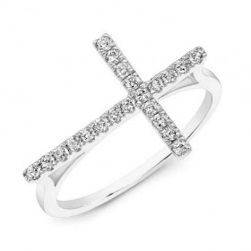 Modern White Gold Diamond Cross Ring