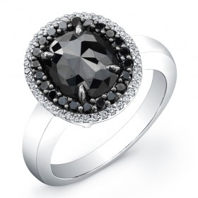 2.20 Oval Black Diamond Ring