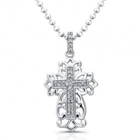 Antique Diamond Cross Necklace-Silver