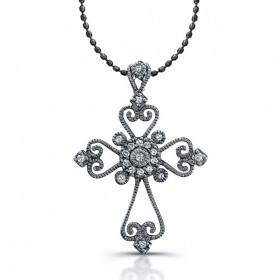 Silver Diamond Vintage Cross Black Rhodium