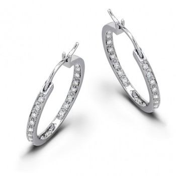 1/2ctwt Diamond Hoop Earrings