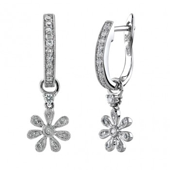 14kt White Gold Diamond Pave Hoop Earrings With Flower Charm