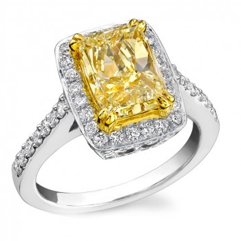 14k White and Yellow Gold Radiant Fancy Yellow Diamond Ring