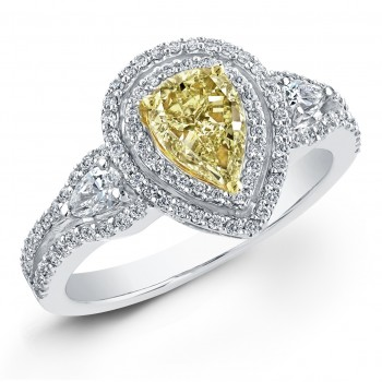 1 1/4 Ct Fancy Yellow Diamond Pear Shape Ring