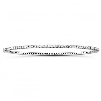 14k White Gold Prong Set Diamond Bangle